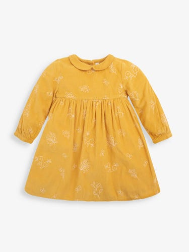 Girls' Mustard Floral Embroidered Dress