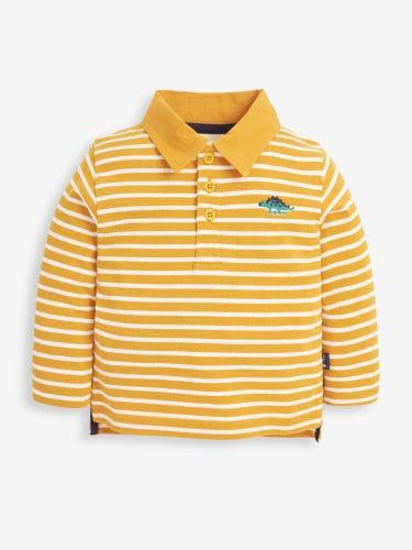 Mustard Stripe Stegosaurus Embroidered Polo Shirt