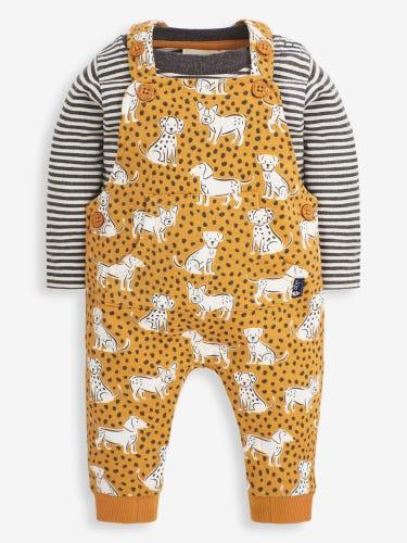 2-Piece Mustard Dog Print Baby Dungarees Set