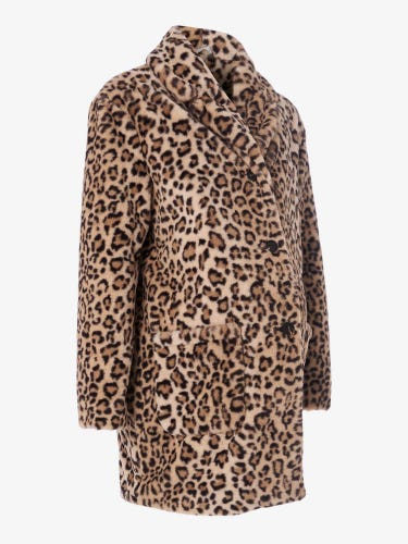 Leopard Faux Fur Maternity Coat