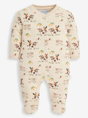 Natural Farm Print Baby Sleepsuit