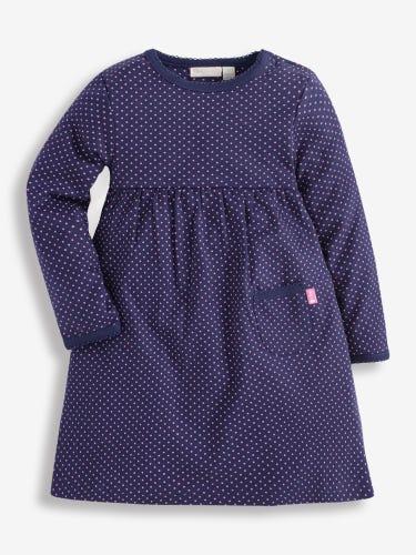 Girls' Navy & Fuchsia Dotty Classic Dress