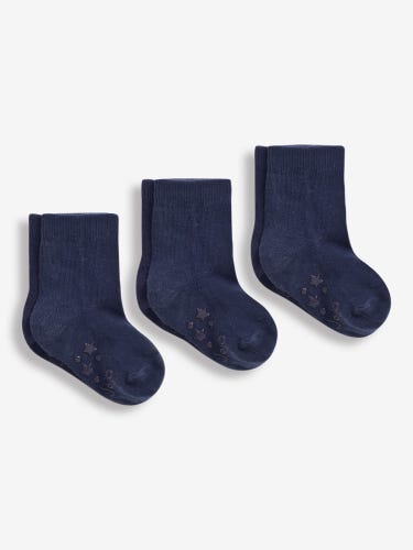 3-Pack Short Navy Cotton Socks