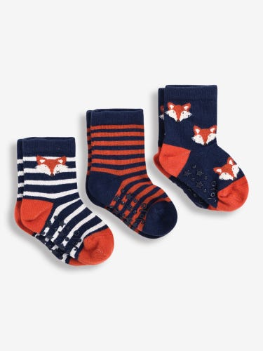 3-Pack Navy Fox Socks