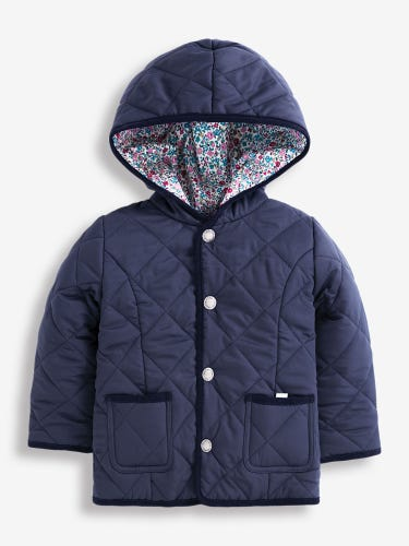 Girls' Navy & Floral Reversible Quilted Jacket