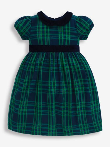 Navy & Green Check Party Dress