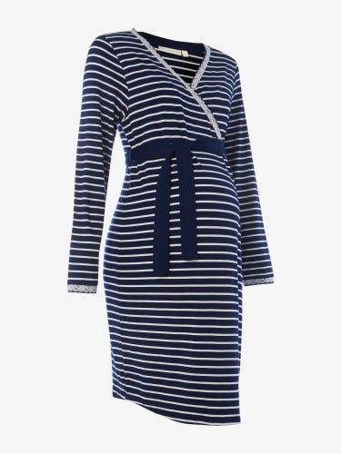 Navy Stripe Maternity & Nursing Robe