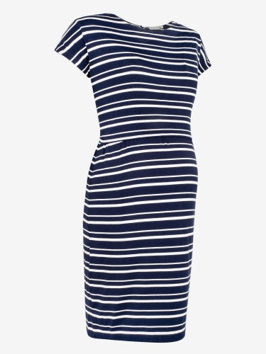 Navy Stripe Maternity & Nursing Tie Back Dress