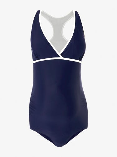 Navy Tipped Racerback Maternity Swimsuit
