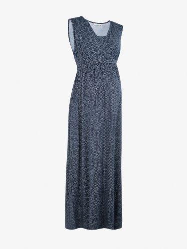 Navy Batik Maternity & Nursing Maxi Dress
