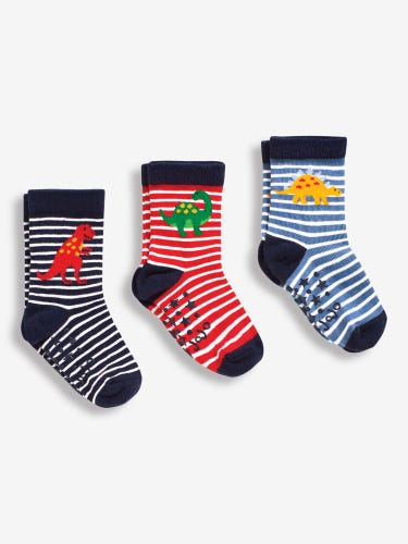 3-Pack Navy Dinosaur Socks