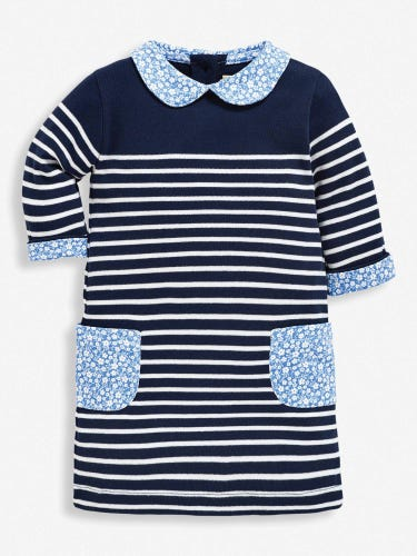 Girls' Navy Peter Pan Breton A-Line Dress