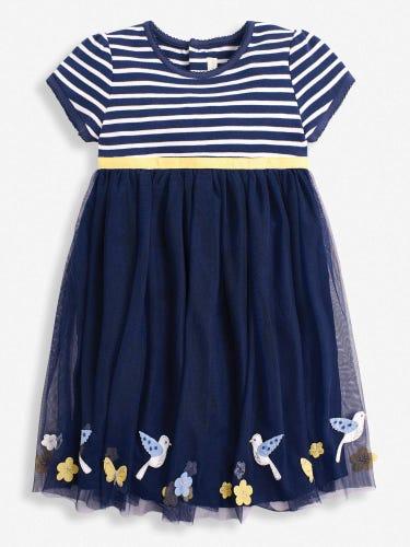 Girls' Navy Bird Tulle Party Dress