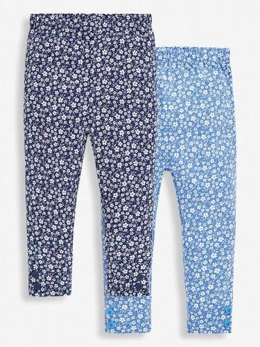 2-Pack Girls' Navy Floral Leggings