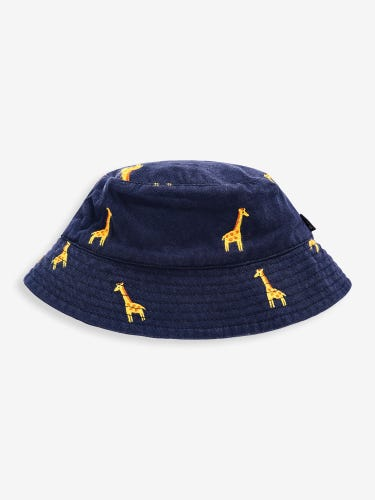 Navy Giraffe Embroidery Twill Bucket Sun Hat