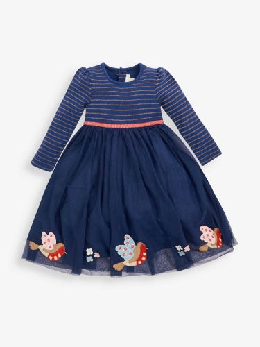 Girls' Navy Robin Party Dress