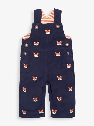 Fox Embroidered Cord Baby Dungarees