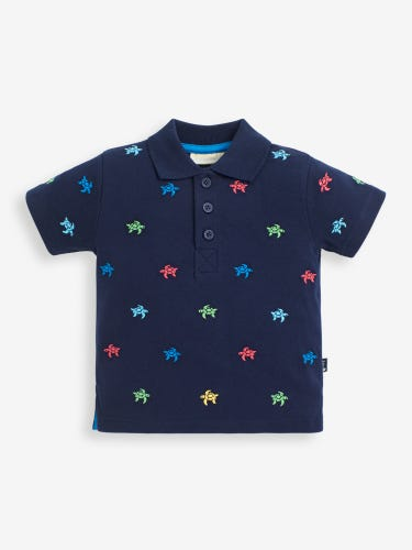 Kids' Navy Turtle Embroidered Polo Shirt