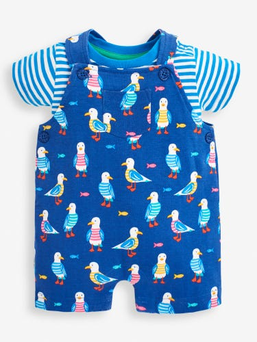 2-Piece Navy Seagull Print Baby Dungarees Set