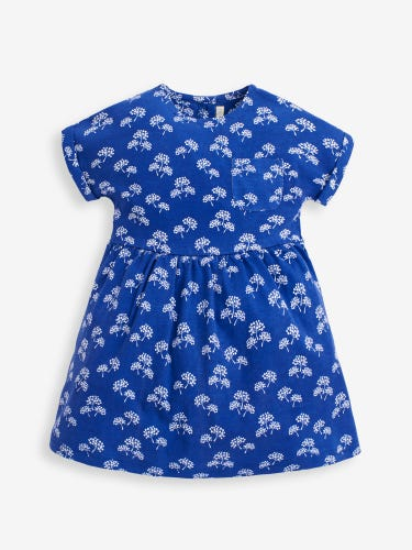 Girls' Navy Posy Jersey Dress With Pockets