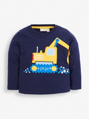 Navy Digger Arm Appliqué Top