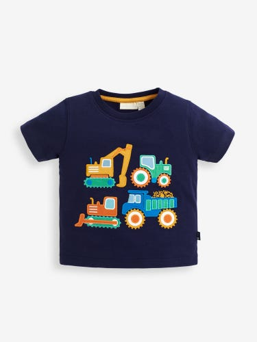 Kids' Navy Construction Trucks Appliqué T-Shirt