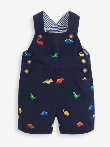 Navy Dino Embroidered Baby Dungarees