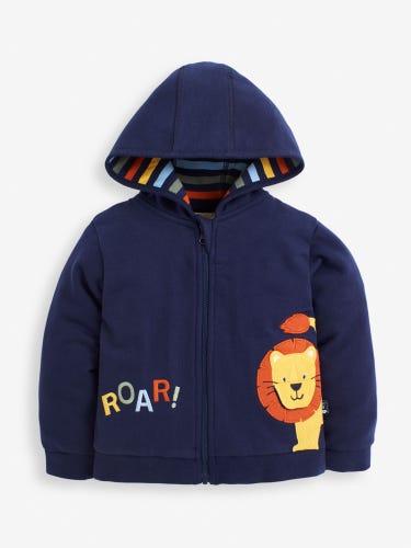 Kids' Navy Lion Zip-Up Hoodie