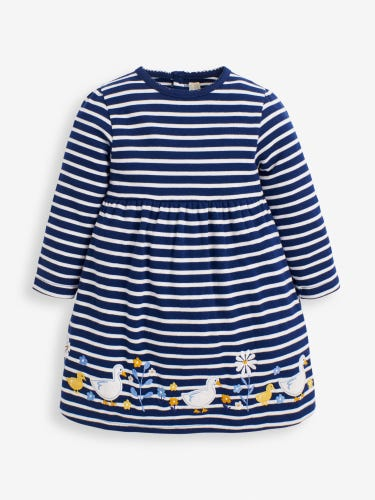 Girls' Striped Duck Appliqué Dress