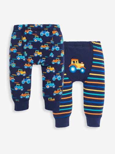 2-Pack Tractor & Stripe Baby Leggings