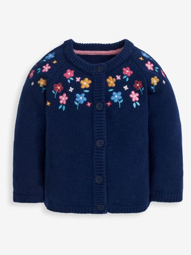 Girls' Navy Woodland Floral Embroidered Cardigan