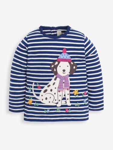 Girls' Navy Dalmatian Appliqué Top