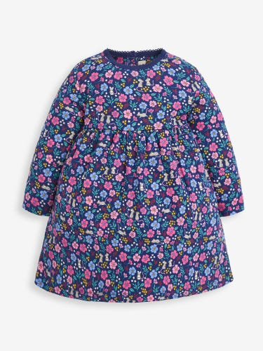 Girls' Navy Mouse Floral Classic Dress