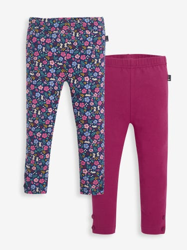 2-Pack Girls' Mouse Floral & Raspberry Leggings