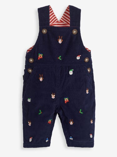 Christmas Embroidered Baby Dungarees
