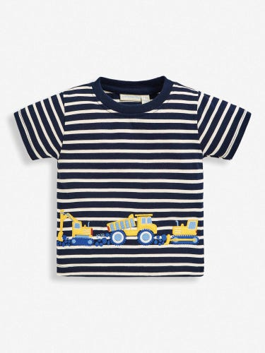 Kids' Navy Ecru Stripe Diggers Appliqué T-Shirt