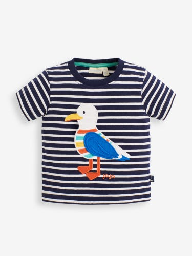 Kids' Interactive Seagull Appliqué T-Shirt
