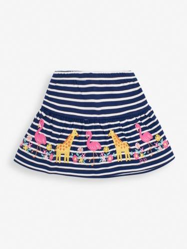 Girls' Navy Stripe Flamingo Appliqué Skort