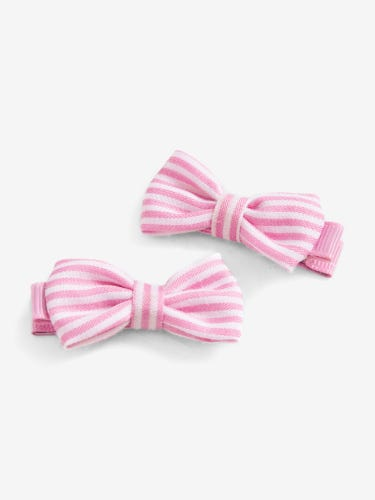 Pair of Kids' Striped Bow Hair Clips