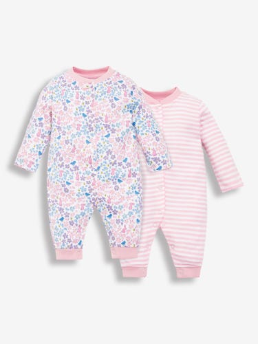 2-Pack Pink Footless Baby Sleepsuits