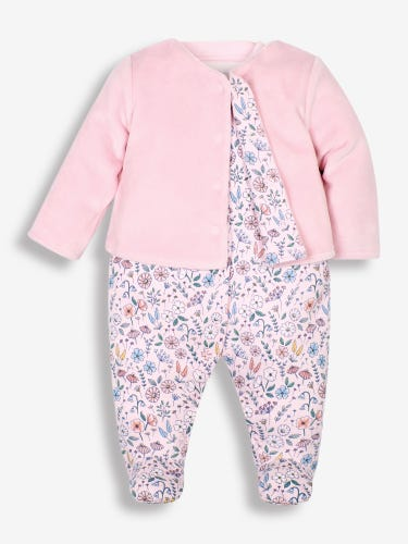 2-Piece Floral Baby Jacket & Sleepsuit Set
