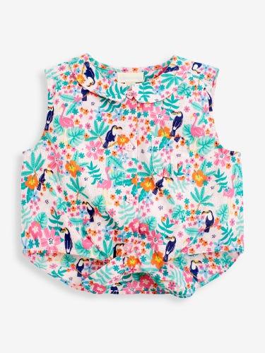 Girls' Pretty Toucan Print Tie-Front Shirt
