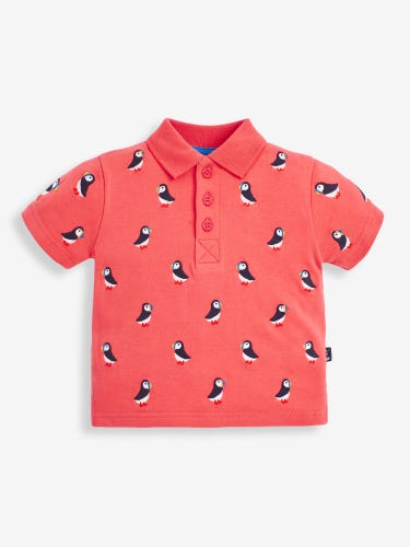 Kids' Pink Puffin Embroidered Polo Shirt