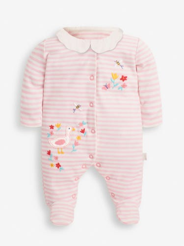 Pink Stripe Duck Appliqué Baby Sleepsuit