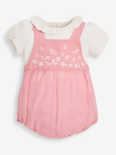 2- Piece Pink Embroidered Bubble Baby Romper & Top Set