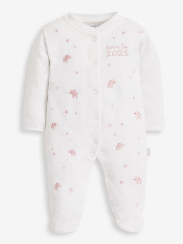 Pink Embroidered Born in 2021 Baby Sleepsuit