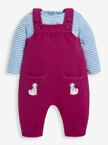 2-Piece Raspberry Dalmatian Quilted Baby Dungarees Set