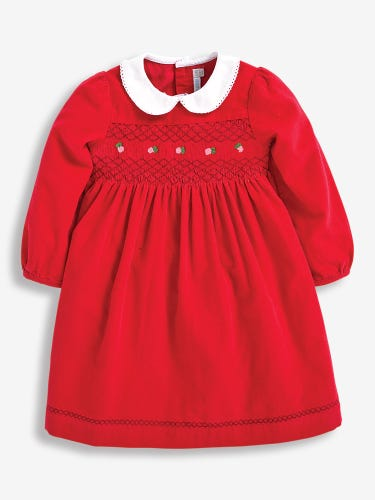 Girls' Berry Smocked Cord Party Dress