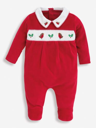 Red Smocked Christmas Baby Sleepsuit