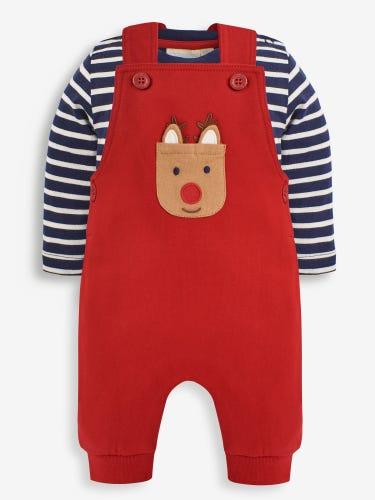 2-Piece Reindeer Pocket Baby Dungarees Set